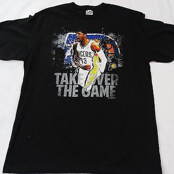 """Indiana Pacers Majestic Paul George #13 """" Take over the Game"""" T Shirt Size Large"""