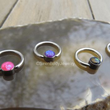 Opal cartilage earring daith piercing jewelry conch opals captive bead rings septum piercings