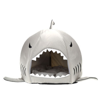 Gray Shark Shaped Pet Bed