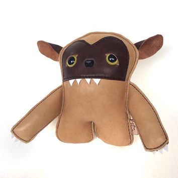 Where the Wild Things Are - Whimsical, Creepy cute, Handmade Leather Monster Plushie Art Doll