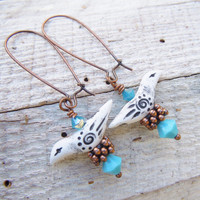 Rustic Tribal Bird Polymer Clay Earrings Blue Southwest