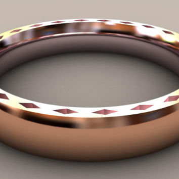 Rose Gold Thin Disigner 4mm Mens Wedding Band With Side Design Clic 14kt