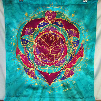 "mandala,""Purity of the Heart"", mandala art, silk wallhanging, mandala art, meditation art,spiritual art, heart chakra, yoga art, reiki art,"