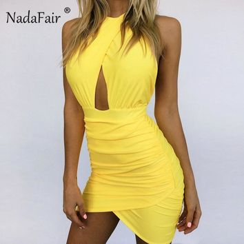 Nadafair Hollow Out Ruched Bodycon Halter Dress Sleeveless High Waist Wrap Mini Pencil Dress Backless Sexy Party Club Dresses