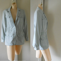 60s Jacket / Light Blue Jacket / Baby Blue Powder Blue Nerdy Jacket Cinched Waist Jacket Casual Jacket Lightweight Jacket Womens Fall Jacket