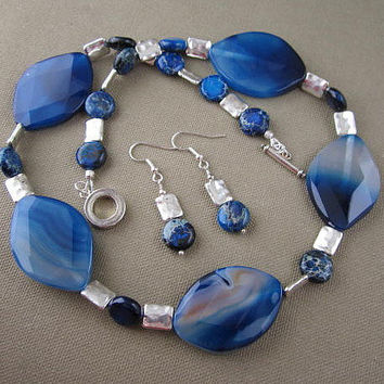 Blue GLASS Beaded Statement Necklace Earrings Set