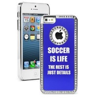 Apple iPhone 5 5S Blue 5S1974 Rhinestone Crystal Bling Aluminum Plated Hard Case Cover Soccer Is Life