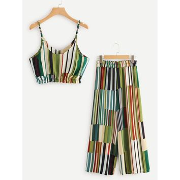 Multi Striped Crop Cami Top With Wide Leg Pants MULTICOLOR