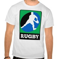 Rugby player running passing run ball tees