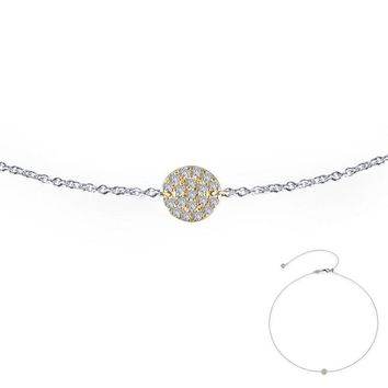 Lafonn Yellow Gold Plated Round Cluster Disc Simulated Diamond Necklace