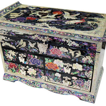 Lacquer ware inlaid mother of pearl handcrafted jewelry stores case,jewel box trinket box with 4 drawer & mirror pine  crane Design #702