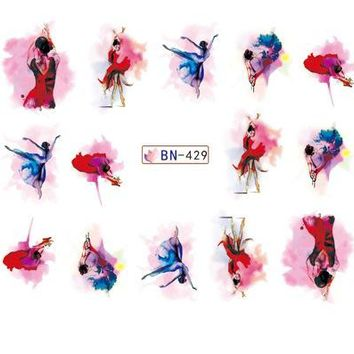 Water sticker for nail art decoration slider watercolor ink ballet dancing girl dancer design decal lacquer accessoires glue 7