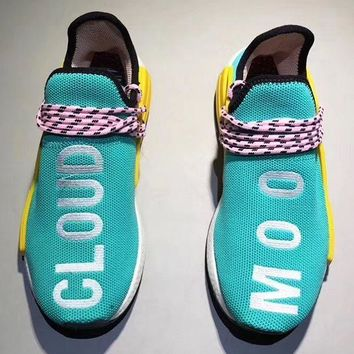 Adidas Human Race nmd Fashion Casual Running Sports Shoes Embroider Letter For Women Men Blue