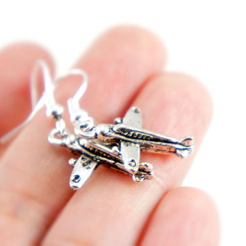 Toy Plane - Antiqued Silver Plated Tiny Toy Plane Dangle Earrings - CP068