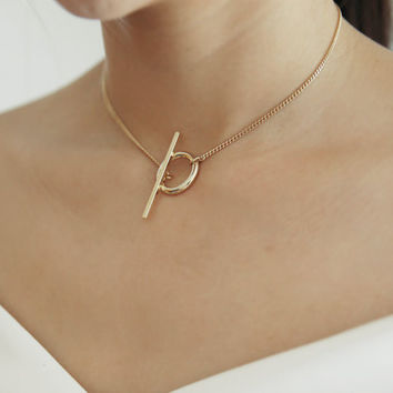 Gold Plated Geometric Round Collar Necklace