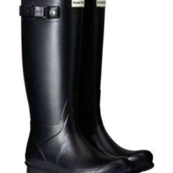 DCK7YE HUNTER ORIGINAL TALL NORRIS FIELD BLACK WELLINGTON BOOTS Welly SZ 7 BN