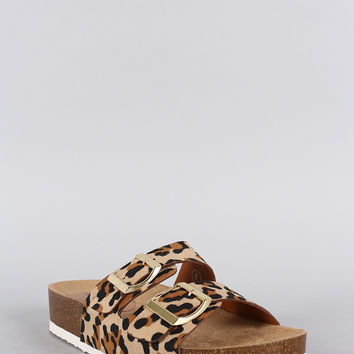 Breckelle Leopard Double Strap Footbed Flat Sandal