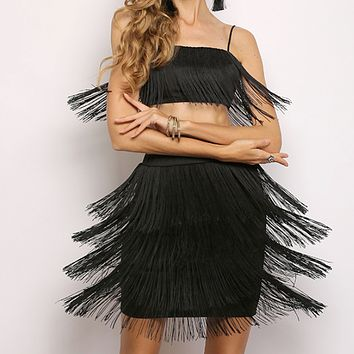Women's sexy bag hip tassel strap short skirt two-piece black