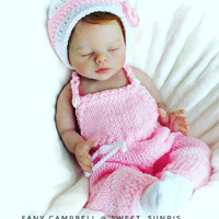 Pink Baby Outfit, Newborn Valentine, Infant Girl Clothes, Crochet Shower Gift, Knit Suspenders Hat, Photo Accessories, Unique Newborn Set