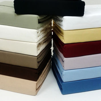 "21"" Super Deep Pocket -Egyptian Cotton 600TC Pillow-Top Bed Sheet Sets"