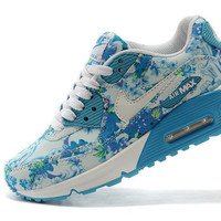 Blue Floral Nike Air Max 90 Running Shoes