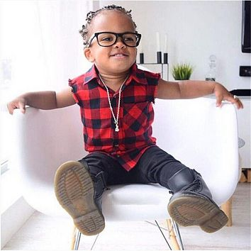 Baby Children Girl Vest 1-7Y Kids Baby Boys Girls Checked Red Plaid Vest Casual Cotton Sleeveless Button Tops Clothes