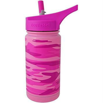 Eco Vessel Frost Kids Insulated Water Bottle w-Strw Pnk 13oz