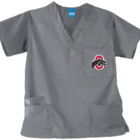 Ohio State Buckeyes Unisex Scrub Top in Grey