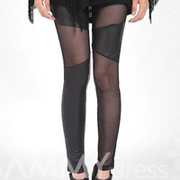 Solid Color Fashionable Style Voile Splicing Slimming PU Leather Leggings For Women
