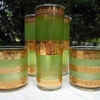 1960s Glassware Green Gold Bands Three Federal Signed Tom Collins Two Unsigned  Whiskey Glass Cocktail Scroll Frosted Mid Century Bar Ware