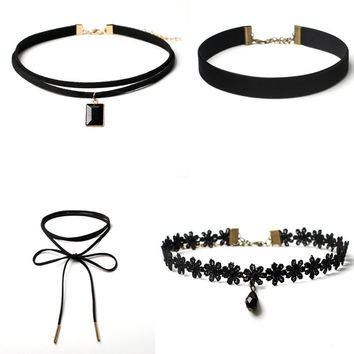 4 Pieces Choker Necklace Set Stretch Velvet Classic Gothic Tattoo Lace Choker