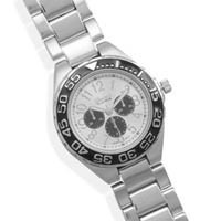 Men's Silver Tone Fashion Watch with Black Dial