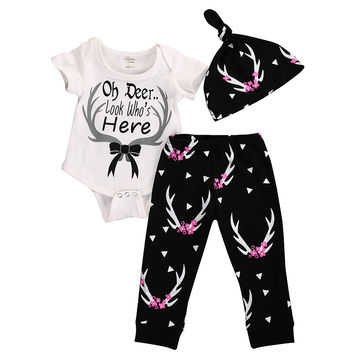 2016 New Arrival Baby Clothes Newborn Infant Girls Boys Deer Top Romper Pants Legging Hat 3PCS Outfits Toddler Kids Clothing Set