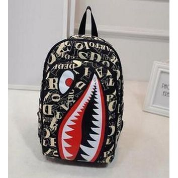 Shark Mouth Popular Lovers New Cartoon Double Shoulder Bag Travel Backpack Personalized Canvas School Bag