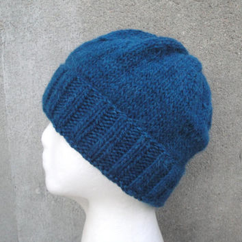 Teal Blue Beanie, Slouch/Slouchy Hat, Hand Knit Llama/Wool, Watch Cap