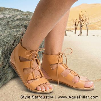 Stardust04S Open Toe Gladiator Lace Up Flat Sandals