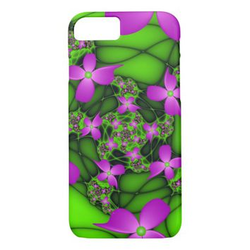Modern Abstract Neon Pink Green Fractal Flowers iPhone 7 Case