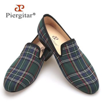 Scotch plaids Fabric Handmade Men shoes Red and Blue Casual loafers Banquet and Prom Men Flats Plus Size US 4-17 Free shipping