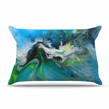 "Carol Schiff ""Turquoise And Green Abstract"" Blue Teal Pillow Sham"