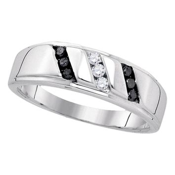 Sterling Silver Mens Round Black Color Enhanced Diamond Wedding Band Ring 1/4 Cttw