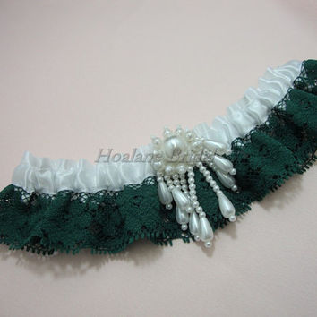 Garter, Green lace garter with white ribbon, Wedding garter