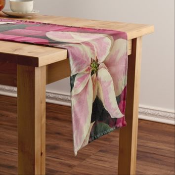 Marbled Poinsettia Holiday Short Table Runner