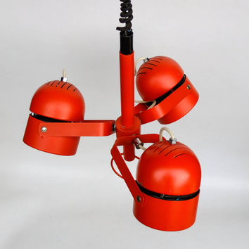 Vintage Three Shade Adjustable Pendant Lamp / 70's Ceiling Light / Spot light / Red - Orange
