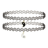 Yin Yang Charm Tattoo Chokers - Black