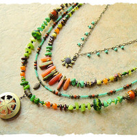 Bohemian Layered Necklace, Natural Stone and Glass, Colorful Beaded, Nature Inspired Necklace, bohostyleme, Kaye Kraus