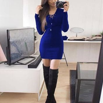 """LITTY KNITTY"" Sweater Dress"