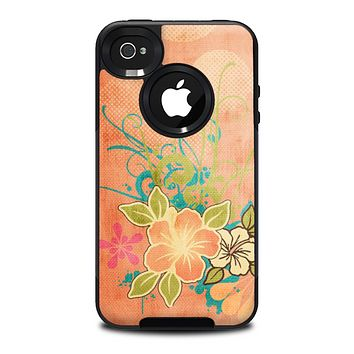 The Vintage Coral Floral Skin for the iPhone 4-4s OtterBox Commuter Case