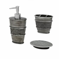 Zenna Home, India Ink Galahad 3-Piece Bath Set, Antique Pewter