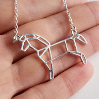 Silver Horse Necklace - Horse Origami Inspired Pendant Necklace for Horse Lovers and Horse Riding Enthusiasts