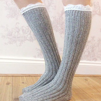 Grey Boot Socks, Crochet Lace Socks, Wool Blend Knitted Socks, Leg Warmers, Winter Wear, Fashion Accessory, Fashion Socks. Wool Stockings.